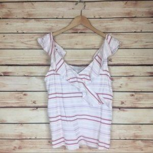 LOFT Striped Sleeveless Blouse Ruffled Cream Pink